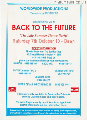 Back To The Future 1989 Late Summer Party - Early Rave Flyers